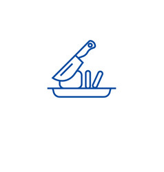 slicing food line icon concept slicing food flat vector image