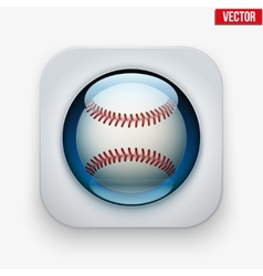Sports button with ball under glass for website or vector image