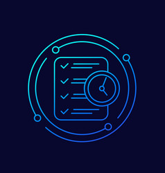 Time management line icon with checklist vector