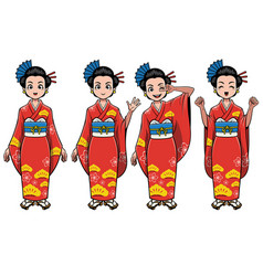 traditional japan girl character set vector image