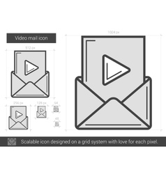 Video mail line icon vector