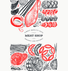 vintage meat products design template hand drawn vector image