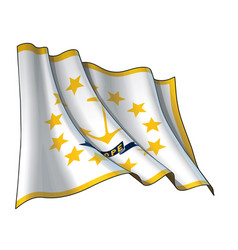 Waving flag state rhode island vector