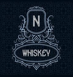 whiskey label design template patterned vintage vector image