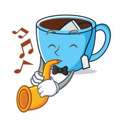 with trumpet tea cup mascot cartoon vector image
