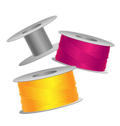 Yellow and pink threads on bobbins vector