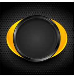 Yellow black glossy circle frame on dark vector