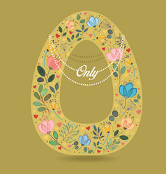 yellow letter o with floral decor and necklace vector image