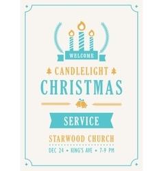 Christmas Candlelight Service Church Invitation vector image