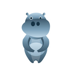 Cute hippo stylized geometric animal low poly vector