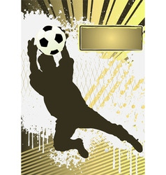 football grunge poster template with soccer player vector image vector image