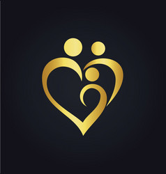heart love family gold logo vector image
