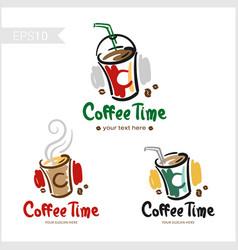set of retro coffee badge label logo design in vector image vector image