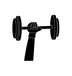 Silhouette hand holding dumbbell weight fitness vector