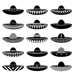 Mexico sombrero hat variations icons set eps10 vector image vector image