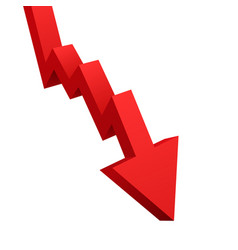 red arrow graph going down isolated on white vector image