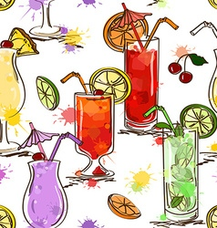 Seamless pattern of vivid cocktails vector image vector image