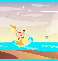 summer holiday people relax on sea vector image vector image