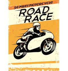 vintage motorcycle racing poster vector image vector image