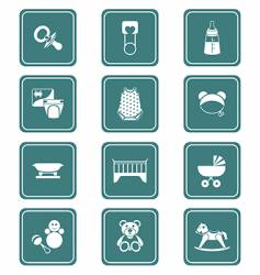 babies icons teal series vector image