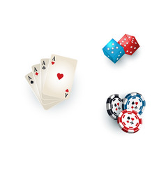 casino symbols - playing cards tokens and dices vector image vector image