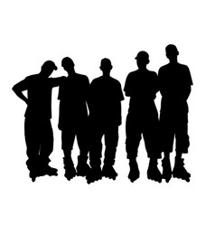 young people group in roller skates vector image