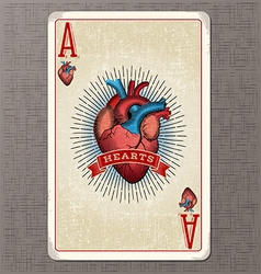 ace of hearts vintage playing card vector image