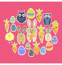 Easter set on a pink vector image vector image