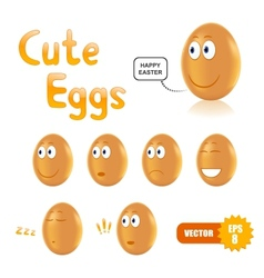 set of cute easter eggs vector image