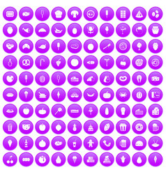 100 tasty food icons set purple vector