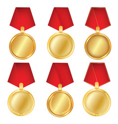 a set of gold award medals isolated on white vector image