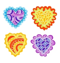 Abstract hand drawn doodle hearts decoration set vector