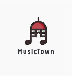 abstract simple town hall music note logo icon vector image