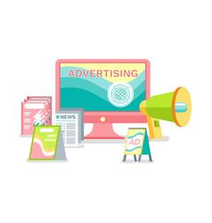 Advertising online in internet marketing methods vector