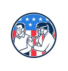 American frontline worker vaccinated vector