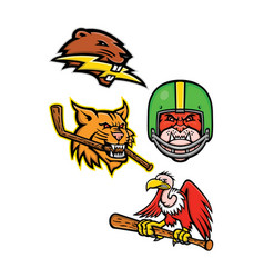 american wildlife sports mascot collection vector image