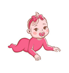 Baby girl cute infant with pacifier happy vector