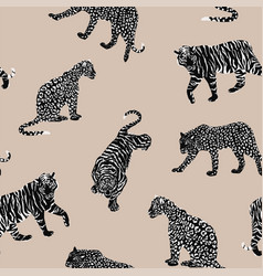black white animal seamless beige background vector image