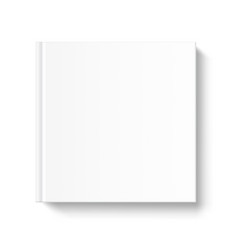 Blank square book cover template on white vector