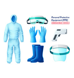 blue covid19 medical protection equipment set vector image