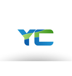 blue green yc y c alphabet letter logo vector image