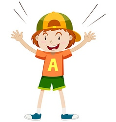 Boy in orange shirt wearing cap vector image
