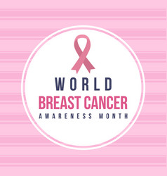 breast cancer day pink background style vector image