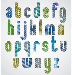 Bright grated lower case letters striped font on vector