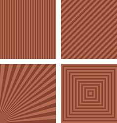 Brown striped pattern background set vector