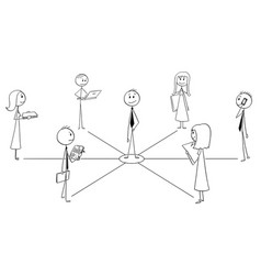 cartoon of business team and leader or teamwork vector image