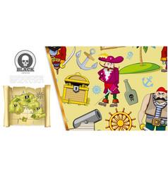 cartoon pirates adventure concept vector image