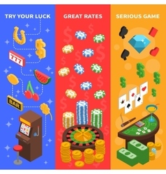 Casino Isometric Vertical Banners vector
