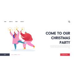 christmas and happy new year party with people vector image