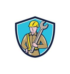 Construction Worker Spanner Shield Cartoon vector image
